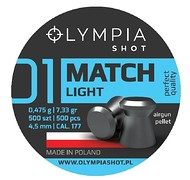 OLYMPIA - Śrut MATCH płaski LIGHT 500szt