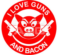 Qrde.pl - Naklejka Guns and Bacon